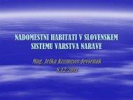 nadomestni habitati v slovenskem sistemu varstva narave