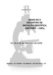 ANAIS DO X ENCONTRO DE INICIAÇÃO CIENTÍFICA UNIP/PIBIC ...
