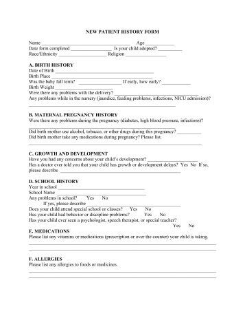 new patient health history form