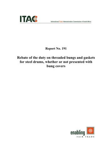 Rebate of the duty on threaded bungs and gaskets for steel drums ...