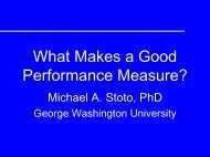 What makes a good performance measure? - Georgetown University