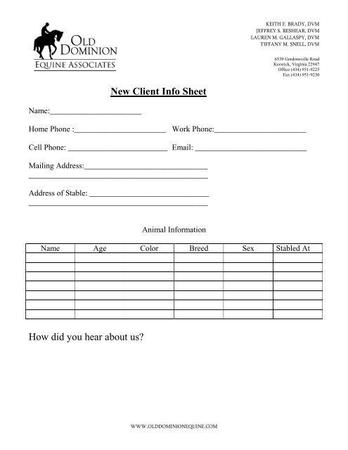 PDF New Client Info Sheet