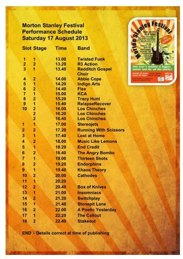 Download Festival Performance Schedule