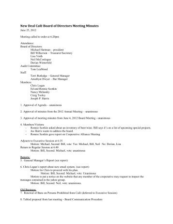 Board Meeting Minutes: June 25, 2012 - New Deal Cafe