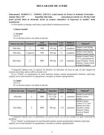 Declaratie de avere si interese - Prefectura Judeţului Alba