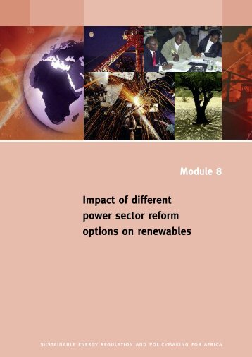Impact of different power sector reform options on renewables - unido