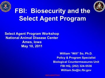 FBI: Biosecurity and the Select Agent Program