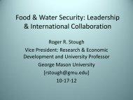 Food & Water Security: Leadership & International Collaboration