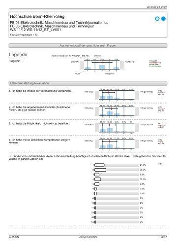 Evaluation Informatik 1 WS 11/12 - Fachbereich Elektrotechnik ...