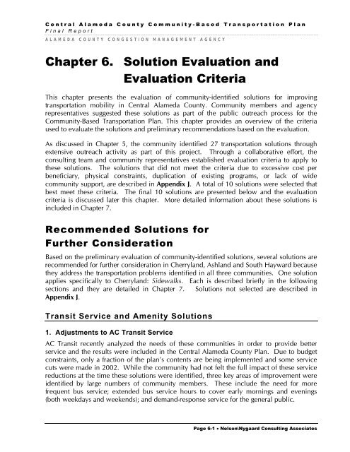 Chapter 6  Solution Evaluation and Evaluation Criteria