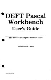 DEFT Pascal Workbench User's Guide.pdf - TRS-80 Color Computer ...