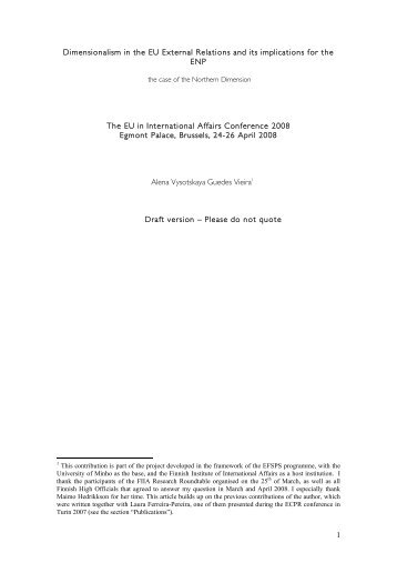 1 Dimensionalism in the EU External Relations and its implications ...