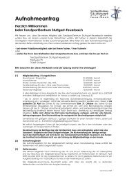 Aufnahmeantrag (für Partner/-in) - TSZ Stuttgart-Feuerbach e.V.
