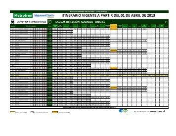 itinerario vigente a partir del 01 de abril de 2013 metrotren y ...