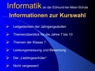 Informationen zur Kurswahl Informatik - Edmund-ter-Meer-Schule