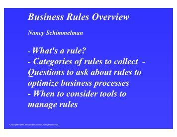 Business Rules Overview - BPAWG 2007-09-27