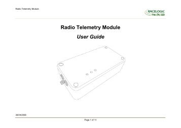 Radio Telemetry Module User Guide - Racelogic