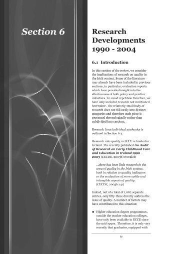 Research Developments 1990-2004 - Centre for Early Childhood ...