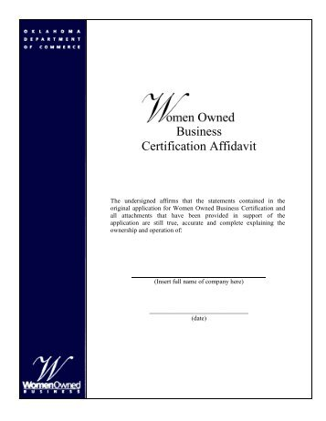 Business Certification Affidavit