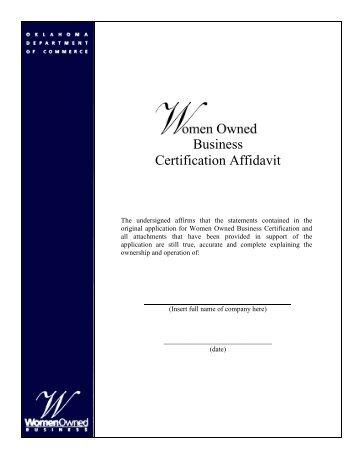 Business Certification Affidavit