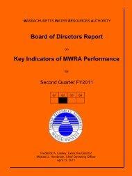 Board of Directors Report Key Indicators of MWRA Performance