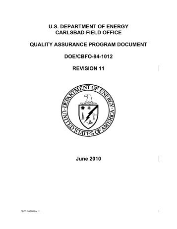 Quality Assurance Program Document - Waste Isolation Pilot Plant ...