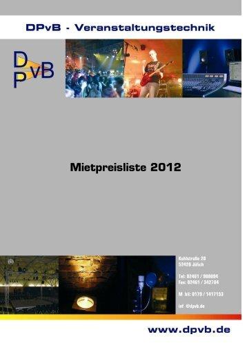Mietpreisliste 2012 - Dpvb