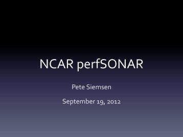 NCAR perfSONAR - NETS