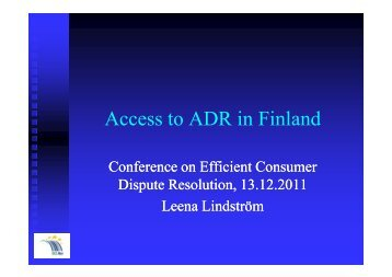 Access to ADR in Finland