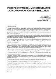 perspectivas del mercosur ante la incorporacin de venezuela
