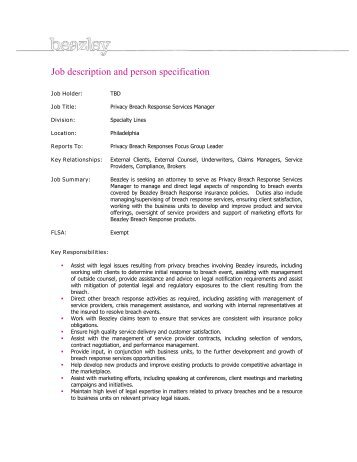 Job description and person specification - Beazley