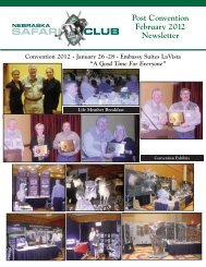Post Convention February 2012 Newsletter - Nebraska Safari Club
