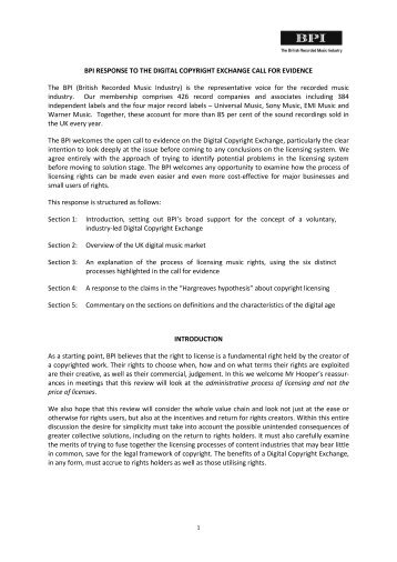 Digital Copyright Exchange Call for Evidence, February 2012 - BPI