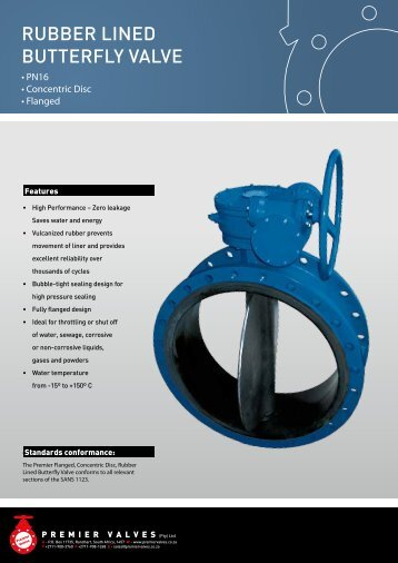 RubbeR Lined butteRfLy VaLVe - Premier Valves