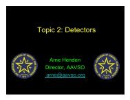Topic 2: Detectors - AAVSO