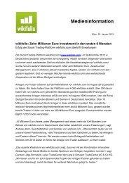 wikifolio: Zehn Millionen Euro Investment in den ersten 6 Monaten