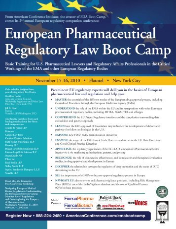 European Pharmaceutical Regulatory Law Boot Camp - American ...