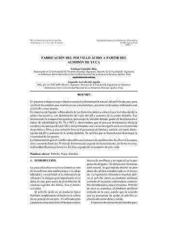 fabricación del polvillo ácido a partir del almidón de yuca