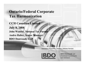 Ontario/Federal Corporate Tax Harmonization - CCH Canadian