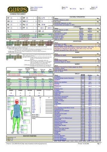 CHARACTER SHEET ST 11 DX 12 IQ 11 HT 11 TL 6 HP 14 Will 13 ...