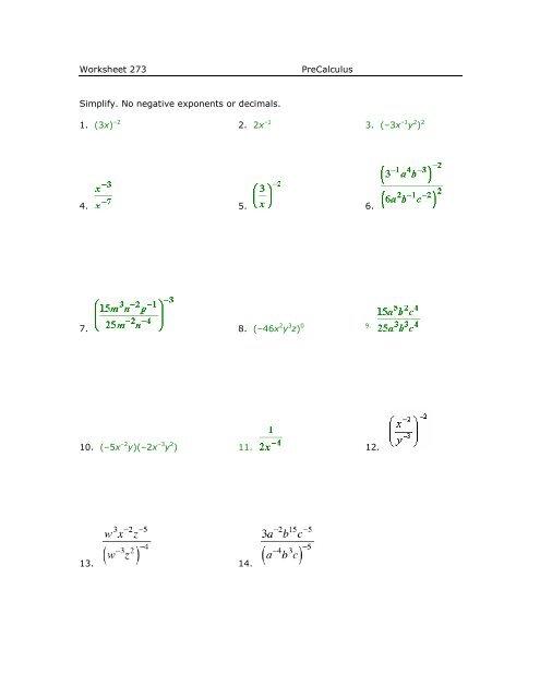Worksheet 273 PreCalculus Simplify. No negative exponents or ...