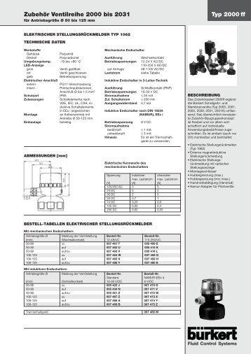 Typ 2000 ff Zubehör Ventilreihe 2000 bis 2031