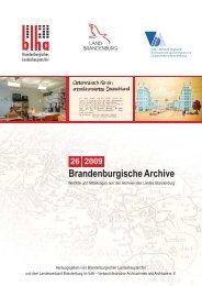 Brandenburgische Archive Jg. 2009, Heft 26 Berichte und ...