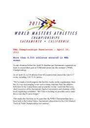 WMA April 29 2011 newsletter - World Masters Athletics