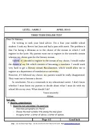 LEVEL : 4AM6,7 APRIL 2010 THIRD TERM ENGLISH TEST Page 1 ...