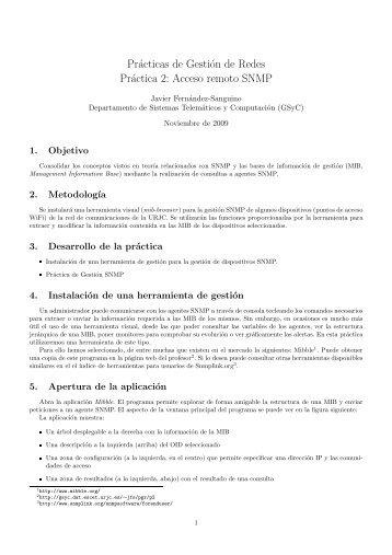 Prácticas de Gestión de Redes Práctica 2: Acceso remoto SNMP