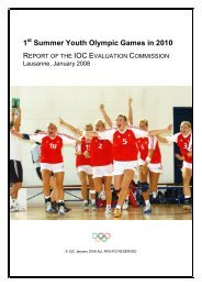 1st Summer Youth Olympic Games in 2010 - Report of the IOC ...
