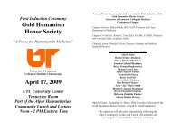 2009 Gold Humanism Honor Society Induction Program