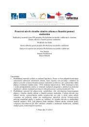 Pracovní návrh věcného záměru zákona o finanční pomoci ... - ISEA