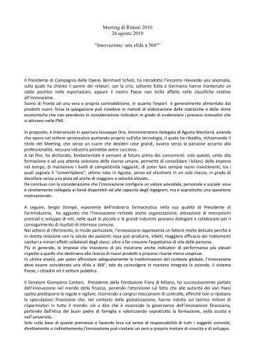 """report n° 10 26 agosto 2010 """"Innovazione: una sfida a 360°"""" - Agci"""